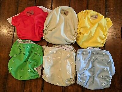 Rumparooz One Size cloth diapers with inserts.. Lot of 6
