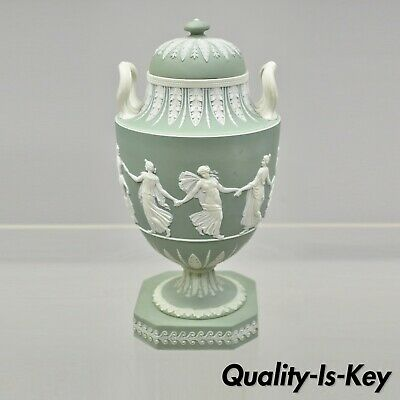Wedgwood Sage Green Lidded Double Handle Urn Vase with Dancing Figures