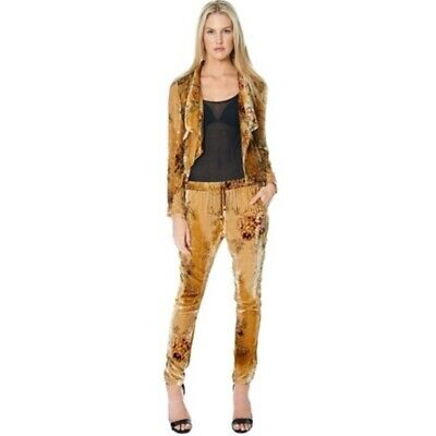 Chaser Women's Floral Velvet Pants in Gold Size SMALL