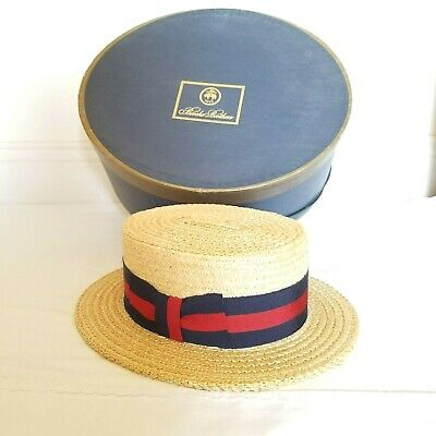 Vintage Brooks Brothers (Italy) Boater Panama Straw Hat 7-1/8 w/ Box Co. Invoice