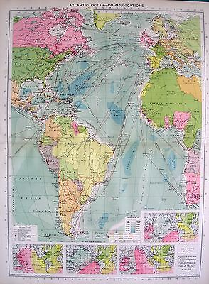 1934 Large Map ~ Atlantic Ocean Communications ~ Isochronic Charts