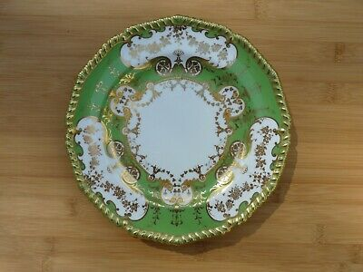 Antique Royal Crown Derby Green Gold Gilded Decorative Small Cabinet Plate