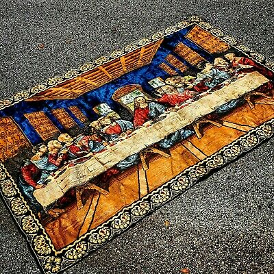 VTG 70's Da Vinci Last Supper Jesus Tapestry Rug Large Italy Rayon Cotton Blend