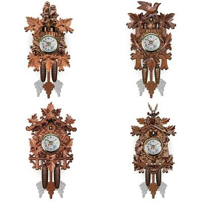 Hanging Wooden Cuckoo Wall Clock Time Bell Swing Alarm Watch Art Room Decor UK