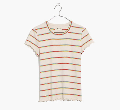 MADEWELL IVORY MULTICOLOR STRIPED SHORT SLEEVE STRIPED COMFY BABY TEE TOP Sz XL