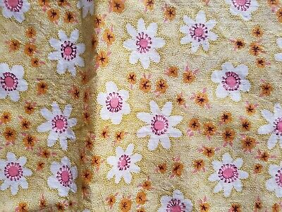 Vintage 60s/70s gold/beige cream pink orange cotton fabric 90 x 2.40