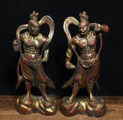 An Pair Estate Old Chinese Ming Dynasty Bronze Buddha Figure Statue