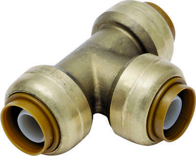 SharkBite U412LFCA Tube Reducing Tee, 3/4 x 3/4 x 1/2 in, Push-Fit, 200 psi, DZR
