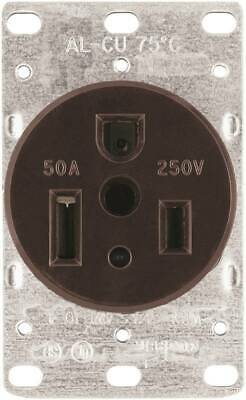 Eaton Cooper Wiring 1254-BOX Power Receptacle, 50 A, Brown