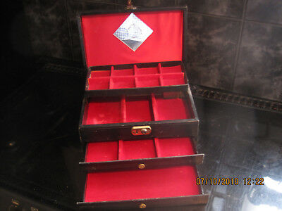 Musical Jewelery Box Wood , Black Material Covered Working Read More Vintage