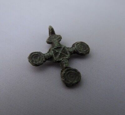 Ancient Viking Bronze Cross Pendant with solar signs Kievan Rus' c 10-12 AD*