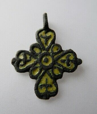Ancient Viking Bronze Enamel Cross Pendant Kievan Rus XI-XIIc*