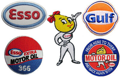 Lot of 6 Gas Oil Tin Metal Signs Shell Gulf Mobil Sinclair John Deere Esso Ford