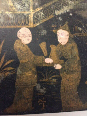 Chinese lacquer box gilt palace robed figures antique