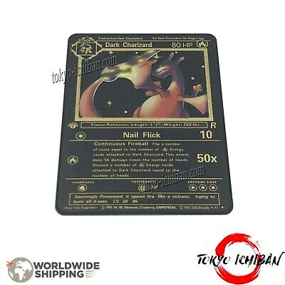 Carte Pokemon Dark Dracaufeu Charizard / Metal Black Card GX EX Gold Fan Made