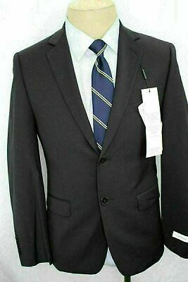 New 40S Calvin Klein Slim Fit Blue Double Vent 100% Wool Sport Coat Blazer DE9