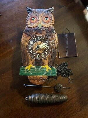 Antique Vintage Owl Wood Carved Small Wall Clock Beautiful Old Moving Eyes 8x4