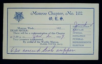 Usa 1928 Stationery Postcard From Order Eastern Star Monroe Chapter 102 Wash.