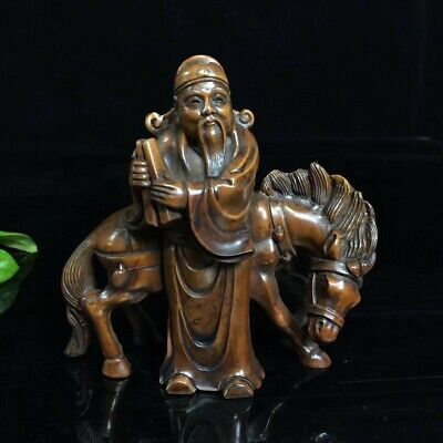 Collectable China Boxwood Hand-Carved Old Man Ride Horse Delicate Decor Statue