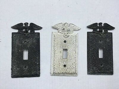 3 Vintage Metal Edmar Hammered Switch Plate Covers Eagle Arrows
