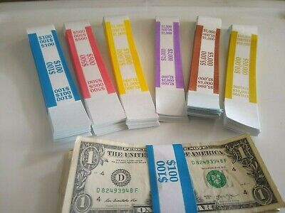 90 Self -Sealing Currency Straps/Bands $100 $500 $1000 $2000 $5000 $10000