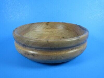 Round Wood Bowl Hand Turned Vessel Handcrafted Wooden Primitive Rustic Decor