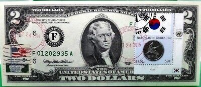 Us $2 Dollars 1995 Federal Reserve Note  Coin And Flag South Korea Gem Unc