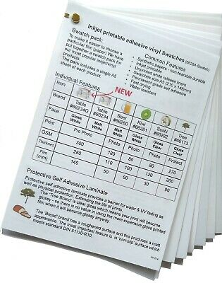 Inkjet vinyl stickers & clear protective laminate 6 types to try Free Delivery