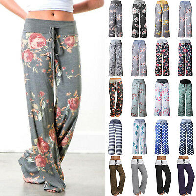 Women Summer Boho Floral Yoga Palazzo Trousers Casual Wide Leg Pants Plus Size