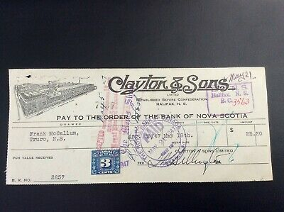 Clayton & Sons, Halifax, N.S., cancelled cheque May 21,1947, excise tax stamp