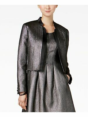 NINE WEST Womens Gray Metallic Cropped Open Front Jacket Size: 12