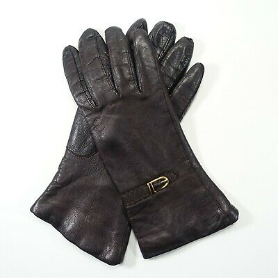 "Genuine Chocolate Brown Leather Gloves 100% Cashmere Lined 9"" Sz 6.5 Italy"