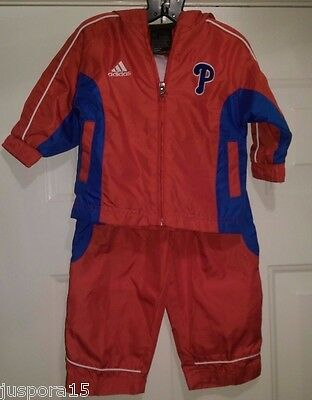 Adidas Boys Girls Philadelphia Phillies Windbreaker Track Suit Size 12 Months
