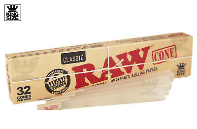 AUTHENTIC Raw (32 CONES) Classic King-Size Pre-Rolled Cones - Fast Free Ship