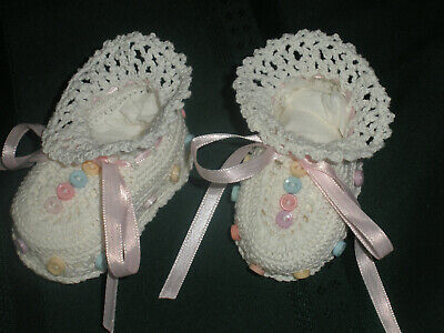 Brand New Hand Made Newborn Girls Crochet Booties Whitewith Colored Baby Buttons