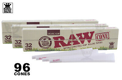 AUTHENTIC RAW (96 CONES) ORGANIC Hemp King Size Pre-Rolled Cones - Fast Shipping