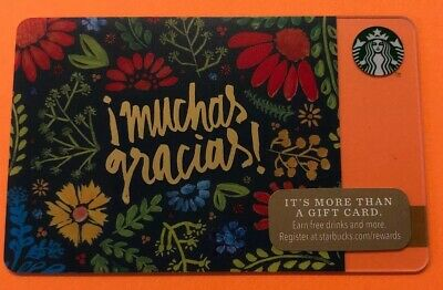 """Starbucks Gift Card 2014 """" MUCHAS GRACIAS """" HTF~ CUTE CARD~NO VALUE~GREAT COLORS"""
