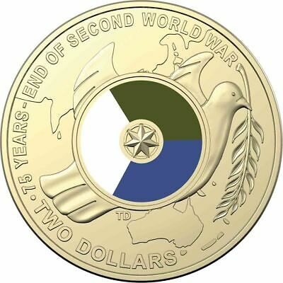 2020 75th Anniversary - The End Of WW2 Coloured Two Dollar $2 Coin (EX ROLL)
