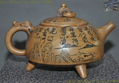Old Chinese Yixing zisha pottery Hand-carved landscape Text Teapot pot Tea Maker
