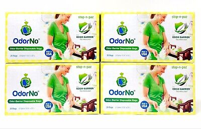OdorNo Baby Odor-Barrier Disposable Bags 2 Gallon (4 Pack, 80 Bags Total)