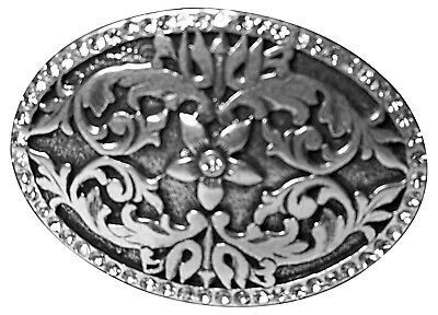 FRONHOFER Oval floral buckle, floral buckle, rhinestones, antique silver, 17419