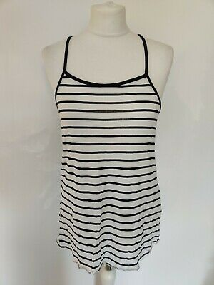H&M Girls Teen Strappy Tank Top Racer Back White Striped Organic Cotton 12-14 y