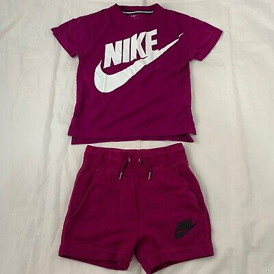 Girls Nike Set Shorts & T Shurt Outfit Pink Purple 7-8 Years Summer Sport
