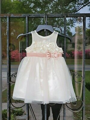 Lovely Little Toddler Girls Ivory & Pink Cherokee Party Dress Size 3T