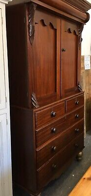 Victorian Mahogany 3+2 Drawer Linen Press With Shelves Approx 1890's