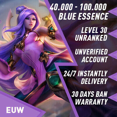 🌪 EUW League of Legends LOL Account Smurf 30.000 - 70.000 BE Unranked Level 30