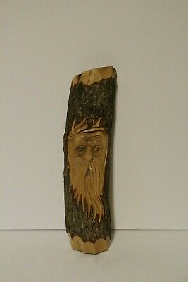 Hand Carved Wooden Face Primitive Wood Carving Old Man Face Wall Hanging 1990s