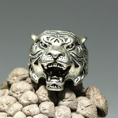 Collectable China Old MIao Silver Hand-Carved Tiger Delicate Unique Decor Ring