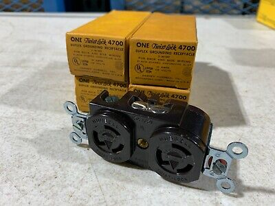 4x Hubbell 4700 Twist-Lock Duplex Receptacle 15A 125V Brown, NOS