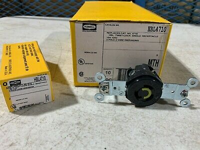 11x Hubbell HBL4710 Twist-Lock Single Receptacle 15A 125V Brown, NOS